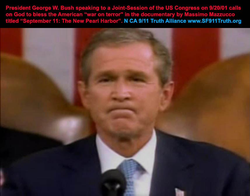 GWBush-text_God-bless-American-War_9-11NewPearlHabor_screenshot-vic-sadot-NoLiesRadio